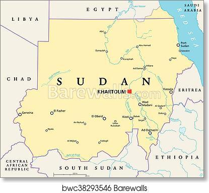 Political Map Of South Sudan.Art Print Of Sudan Political Map Barewalls Posters Prints