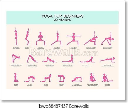 yoga for beginners poses stick figure set art print
