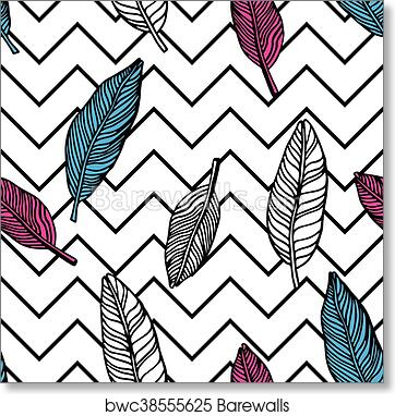 Simple seamless tropical jungle floral pattern background art print poster