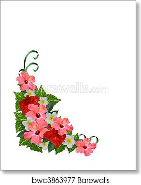 Art Print Of Tropical Flowers Corner Border