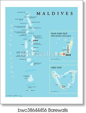 Maldives Political Map Art Print Poster