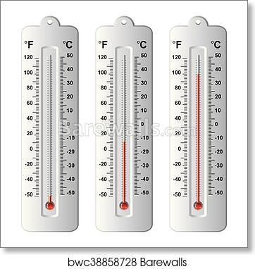 art print of vector set of thermometers at different levels