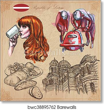 Latvia Freehand Vectors Hand Drawn Collection Line Art Art Print Poster