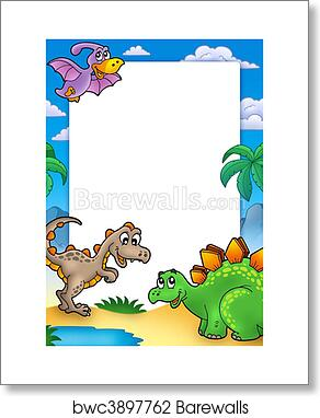 art print of prehistoric frame with dinosaurs barewalls posters