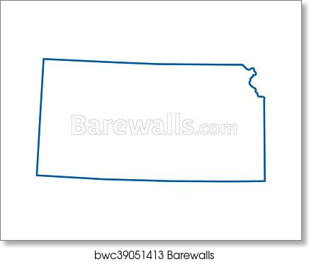 Blue Abstract Outline Of Kansas Map Art Print Barewalls Posters