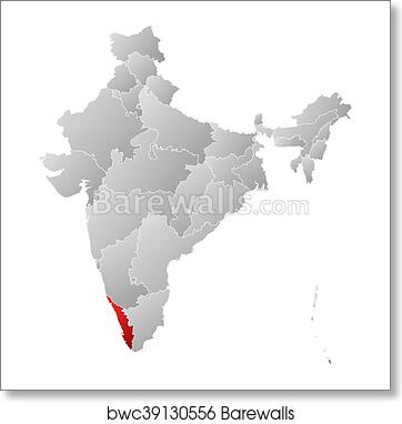 Map - India, Kerala art print poster Kerala India World Map on world map india agra, world map iran tehran, world map pakistan lahore,