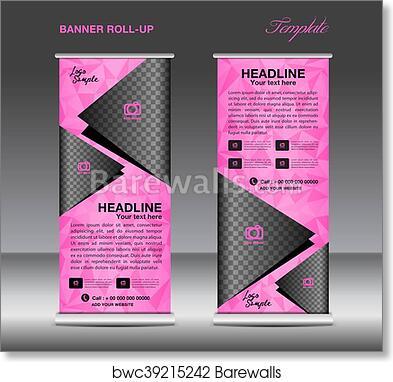 Pink Roll Up Banner Template Vector Art Print Poster