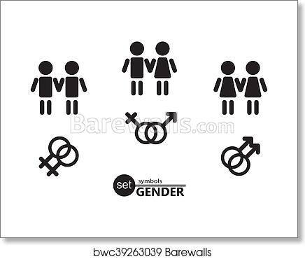 Art Print Of Gender Symbols Set Barewalls Posters Prints