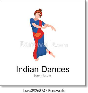 Vector Illustration Of Woman Performing Kathak Classical Dance Of Northern India Indian Traditional Dancer Girl Vector Illustration Of Young Dancing Lady In Sari Isolated On White Art Print Barewalls Posters