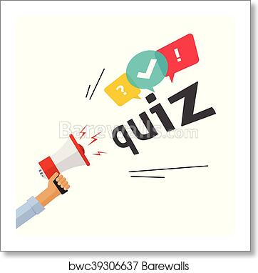 Concept of questionnaire show sing, question competition banner, exam art  print poster