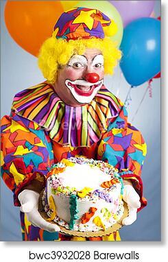 Strange Happy Birthday Clown With Cake Art Print Barewalls Posters Funny Birthday Cards Online Inifodamsfinfo