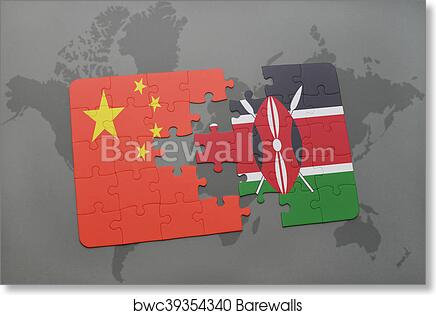 China Map Puzzle.Puzzle With The National Flag Of China And Kenya On A World Map