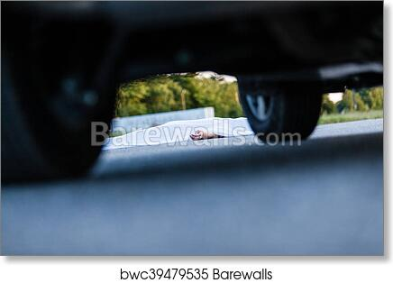 art print of dead body covered with sheet with car nearby
