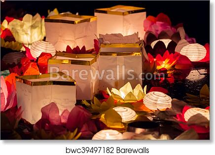 Floating Lotus Flower Paper Lanterns On Water Art Print Barewalls