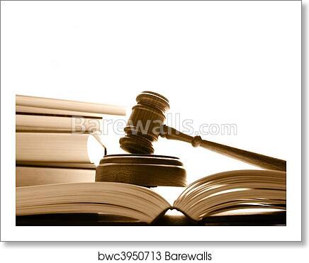 art print of judges court gavel on law books over white barewalls