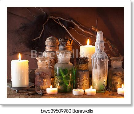 Witch apothecary jars magic potions halloween decoration art print poster