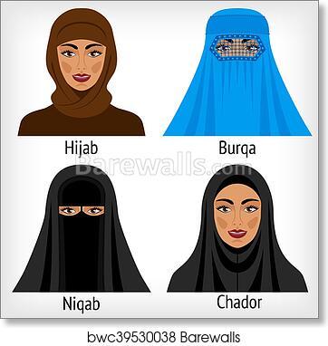 Art Print of Muslim women in traditional headwear  a4c95c5a05b