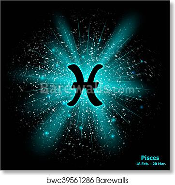 fe8bac6b4 Zodiac sign Pisces on cosmic explosion background, Art Print ...