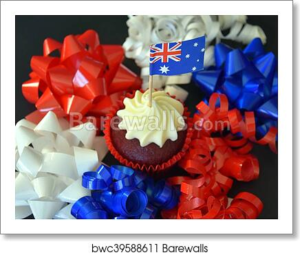 Happy Australia Day Party Food With Red White And Blue Cupcake And Australian Flag Anzac Day Celebration Patriotism And Holidays Concept Close