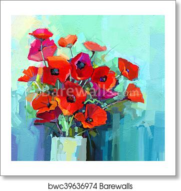 Art print of oil painting still life of red and pink color flower art print of oil painting still life of red and pink color flower colorful bouquet of poppy flowers in vase mightylinksfo
