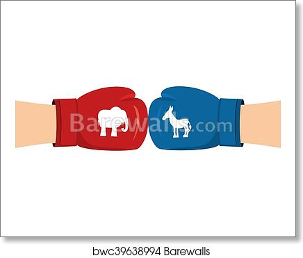 Elephant and Donkey boxing gloves  Symbols of USA political party  American  Democrat versus Republican  Elections in United States  Battle for votes
