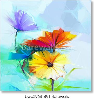 RED FLOWERS AND WHITE DAISIES CANVAS PRINTS WALL ART PICTURES HOME DECO POSTERS