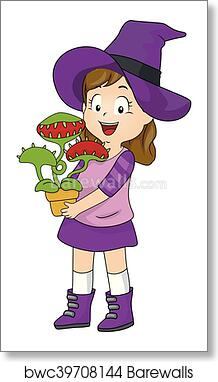 Kid Girl Witch Costume Venus Fly Trap art print poster