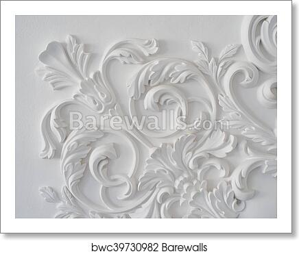 Luxury White Wall Design Bas Relief With Stucco Mouldings Roccoco Element Art Print Barewalls Posters Prints Bwc39730982