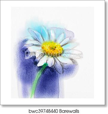 Art Print Of Abstract Watercolor Painting White Gerbera Daisy Flower