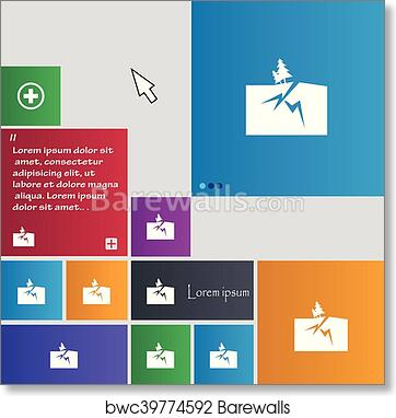 Property insurance icon sign  buttons  Modern interface website buttons  with cursor pointer  Vector art print poster