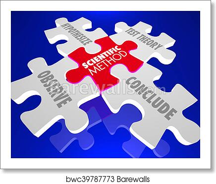 art print of scientific method science experiment theory puzzle 3d