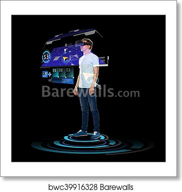 493b5713506 Art Print of Happy man in virtual reality headset or 3d glasses ...