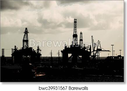 Oil Drilling Rig Silhouette art print poster