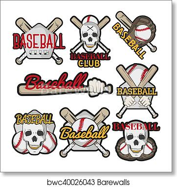 Art Print Of Vector Set Colorful Baseball Club Labels Sport Templates Badges Emblems Logos With Balls Bats Skulls Isolated On White Background