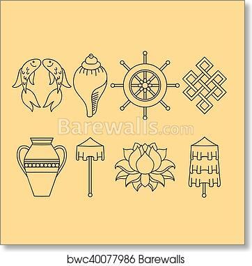 Art Print Of Buddhist Symbolism The 8 Auspicious Symbols Of