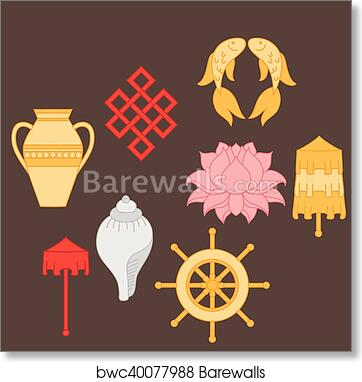 Art print of buddhist symbolism the 8 auspicious symbols of auspicious symbols of buddhism right coiled white conch precious umbrella victory banner golden fish dharma wheel auspicious drawing lotus flower mightylinksfo