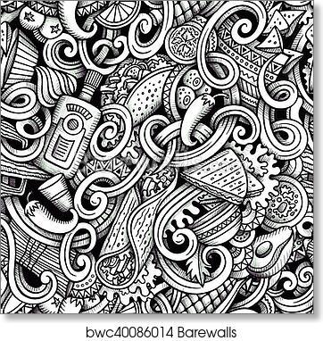 Art Print Of Cartoon Hand Drawn Mexican Food Doodles Graphics