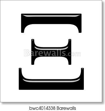 3D Greek Letter Xi, Art Print