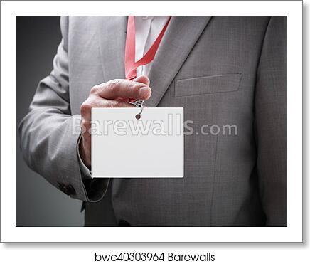 art print of businessman holding blank id badge barewalls posters