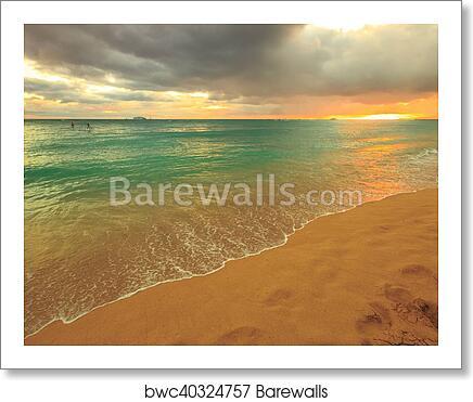 Waikiki Beach Hawaii Art Print Poster