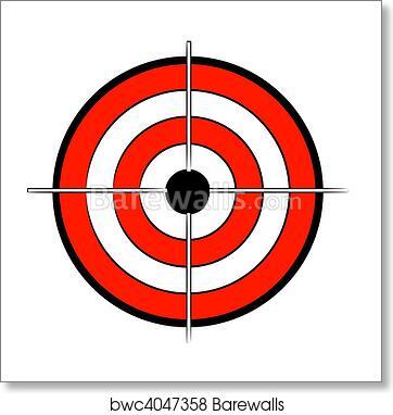 Art print of red white and black bullseye target