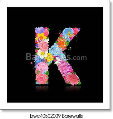 Fancy Letter Of Beautiful Flowers On Black Background K Art Print Barewalls Posters Prints Bwc40502009