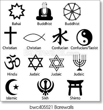Art Print Of Religious Symbols Barewalls Posters Prints Bwc405521
