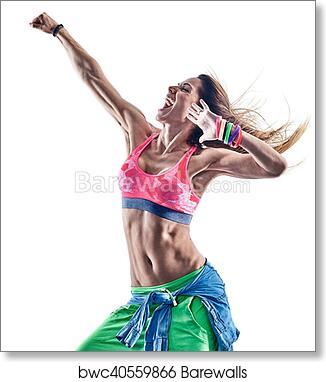 Art Print Of Woman Fitness Excercises Zumba Dancer Dancing