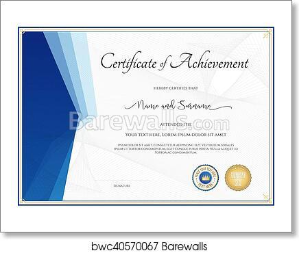 art print of modern certificate template for achievement appreciation participation or completion - Modern Certificate Template