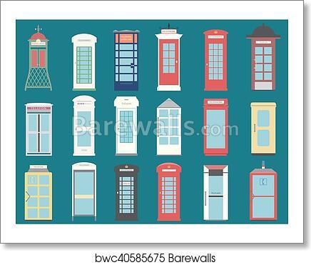 Set of 9 United Kingdom Telephone Boxes from England, Scotland and Ireland  flat London box, British telegraph art print poster