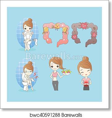 Cartoon Woman With Constipation Art Print Barewalls Posters Prints Bwc40591288