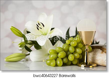 Art Print Of Eucharist Symbol Of Bread And Wine Chalice And Host