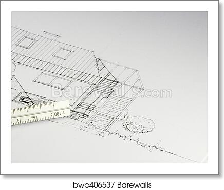 Art print of blueprint of a building 02 barewalls posters prints art print of blueprint of a building 02 malvernweather Image collections