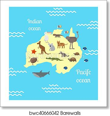 Art print of australia animals world map for children barewalls art print of australia animals world map for children gumiabroncs Image collections